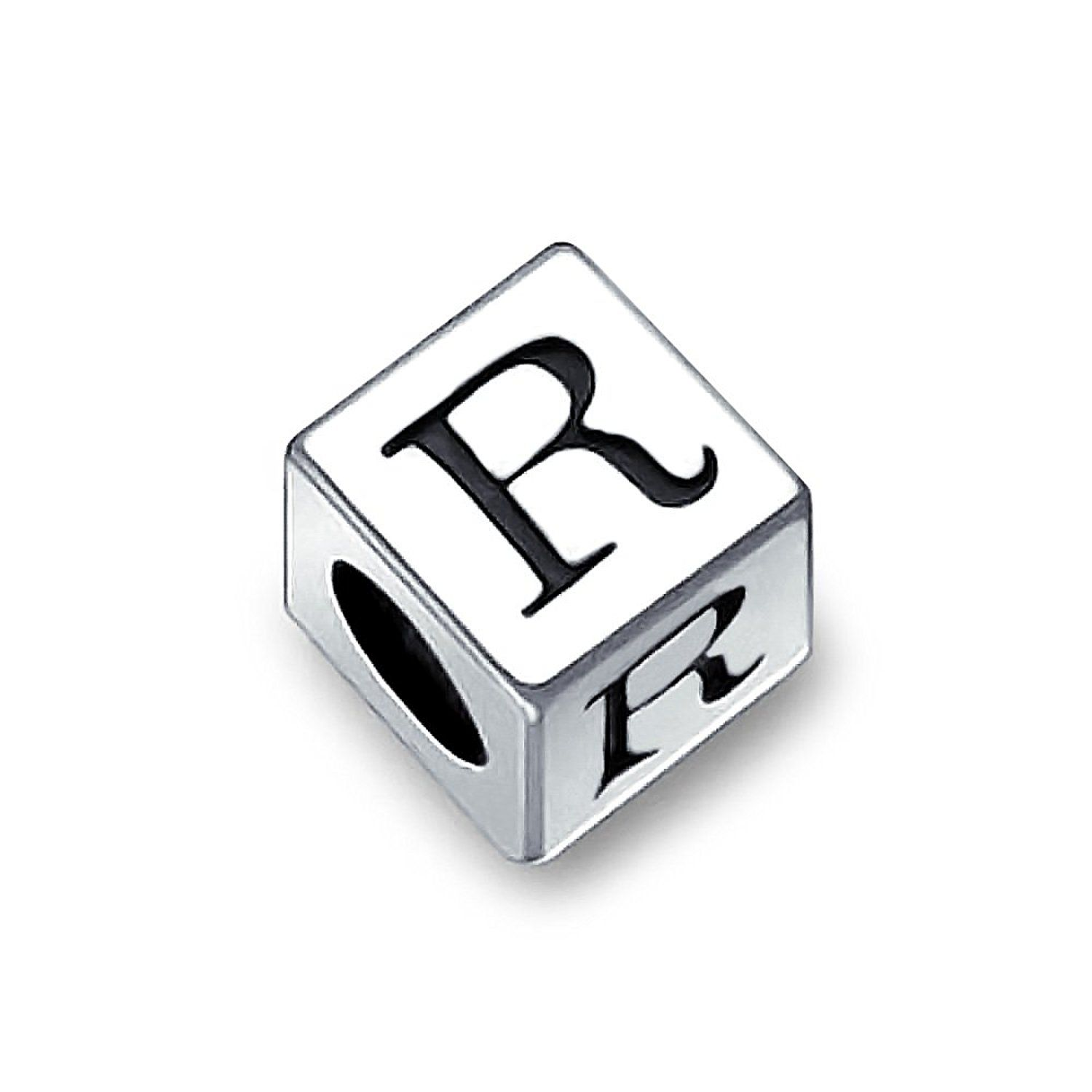 Bling Jewelry  Sterling Silver Block Letter R Bead Charm