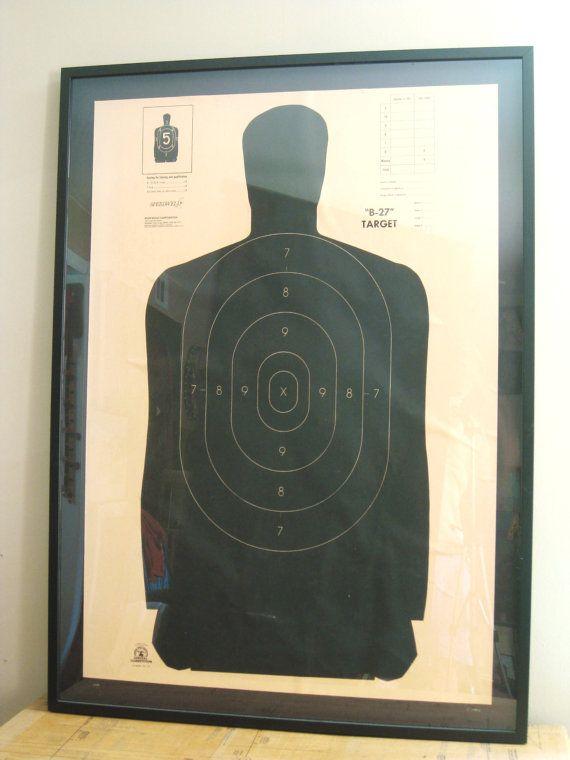 Shooting Target , Framed , Shooting Range , Target , Large Art , Paper Ephemera , Contemporary Art , Black and White ,  Vintage Art