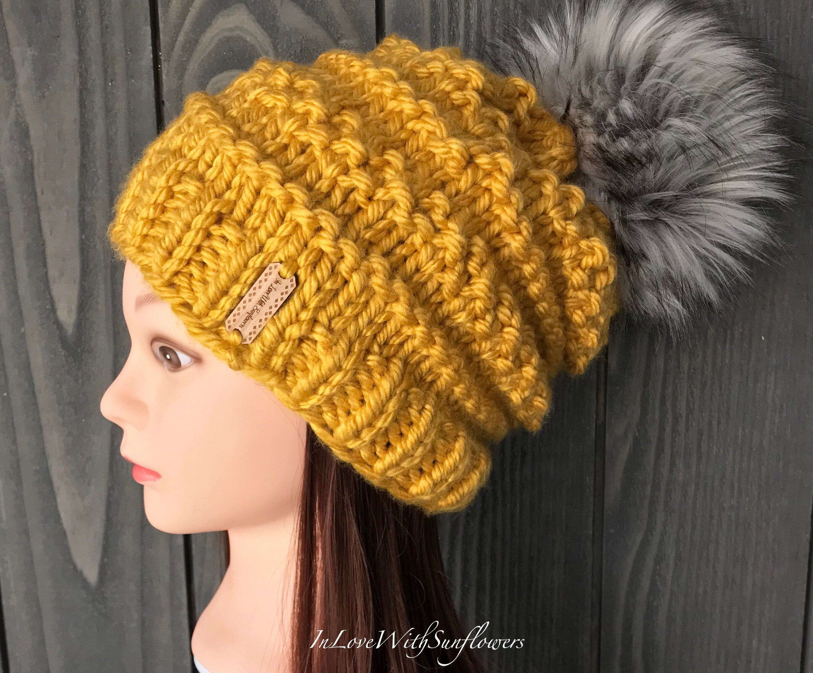 a8b1f5d8038 Knit Hat with Faux Fur Pom Pom - Mustard - Gold Chunky Knit Hat with  Removable vegan friendly fake fur pom pom - Slouchy Beanie -