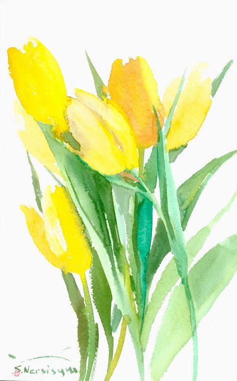 Tulipes Jaunes Lumineux Jaune Vert Original Peinture A L