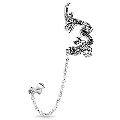 Fashion Earring Stainless Steel Stud with Chain Dangle and Flying Dragon Cuff