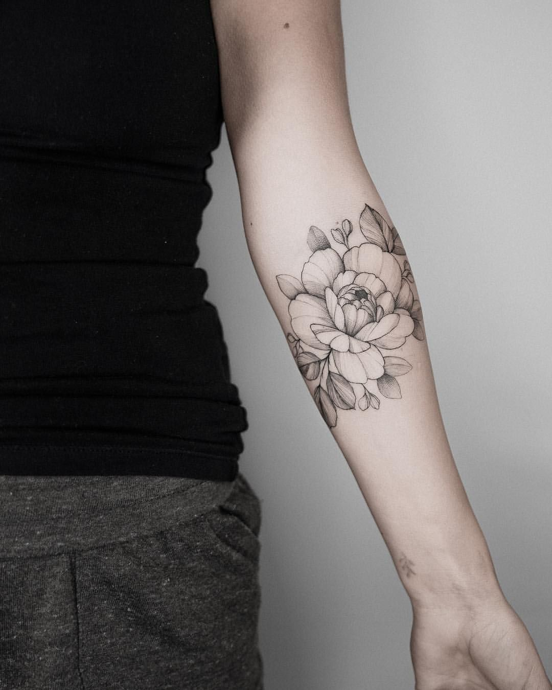 Peony Fine Line Floral Forearm Arm Tattoo Cute Delicate Feminine Tattoos Flowers And Florals Animal Floral Tattoo Floral Tattoo Sleeve Floral Tattoo Design