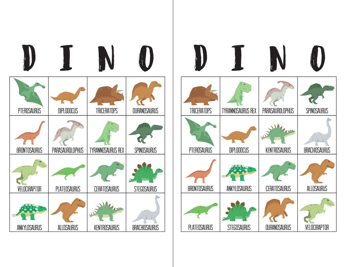 Dinosaur Bingo Cards | Dinosaur birthday party, Dinosaur birthday ...