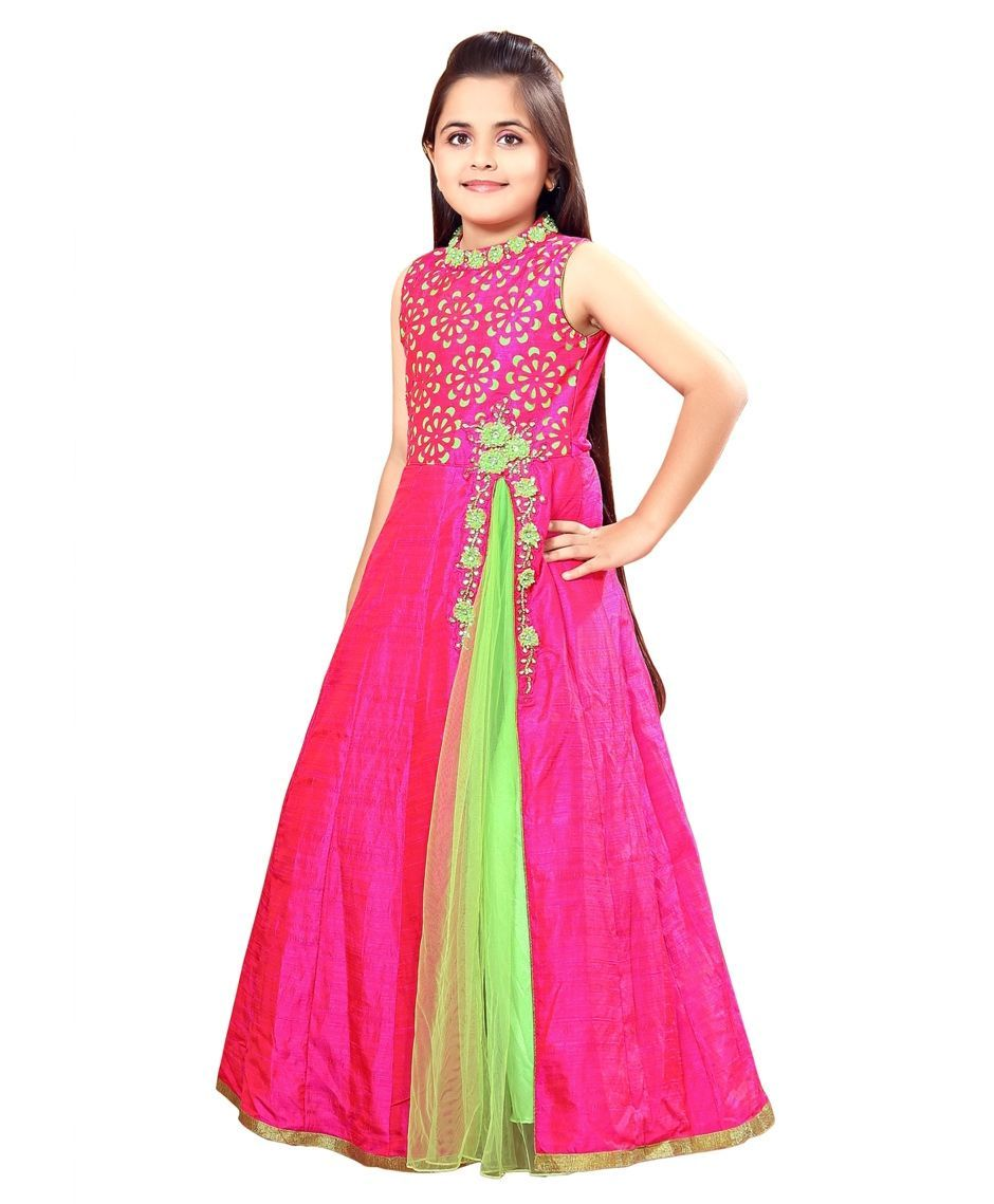 Buy Betty By Tiny Kingdom Floor Length Gown Rani Pink for Girls (9 ...