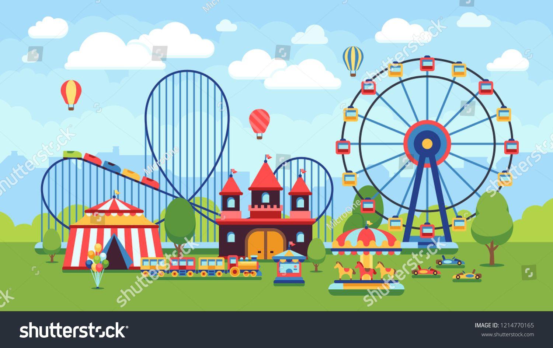 Cartoon Amusement Park With Circus Carousels And Roller Coaster Illustration Sponsored Spon Park C Amusement Park Graphic Design Business Kawaii Doodles