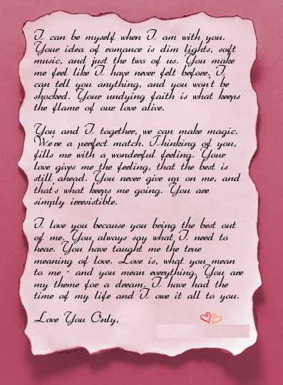 Romantic love letters for boyfriend
