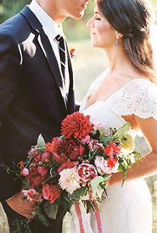 Red Dahila Bouquet with Roses and Anemones | Wedding Flowers