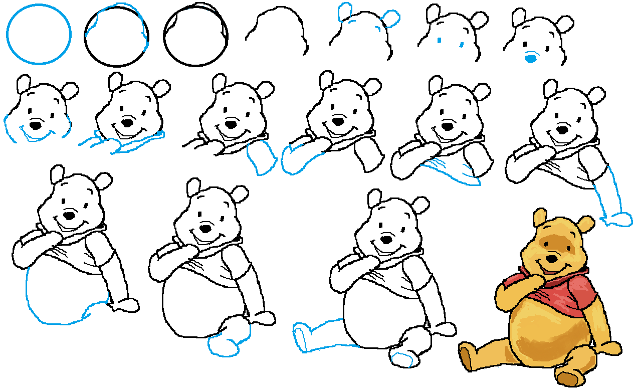 How To Draw Winnie The Pooh Characters Step By Step how to draw winnie the pooh Drawing Animals Pinterest