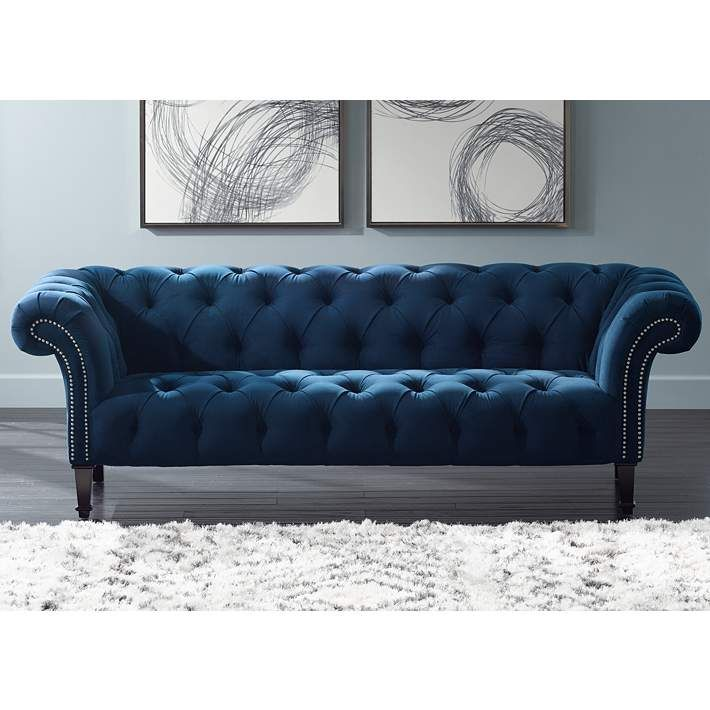 Tessa Sapphire Blue 90 3 4 Wide Tufted French Sofa 6y001