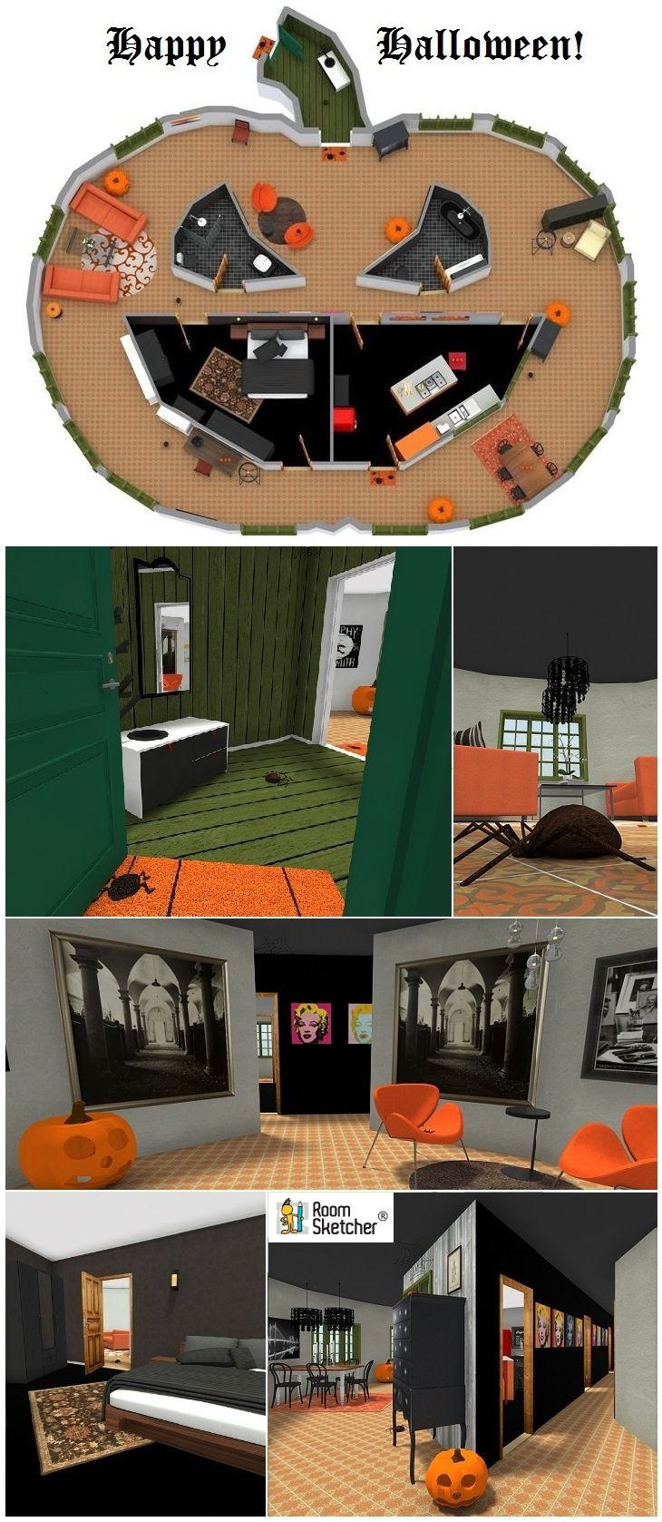 What would it be like to live in a Pumpkin? Find out! Tour our Halloween Pumpkin House in Live 3D - If YOU Dare! Muh-HA-HA-HA… http://www.roomsketcher.com/blog/halloween-pumpkin-house/ (Rated G: Great for all ages!)  #halloween #jackolantern #pumpkin #homedesign #halloweendecoration