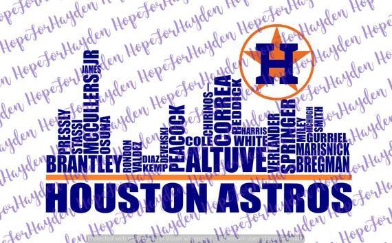 Astros Baseball 2019 SVG Houston Skyline Astros Players