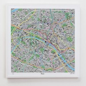 paris travel map - very detail - hand made