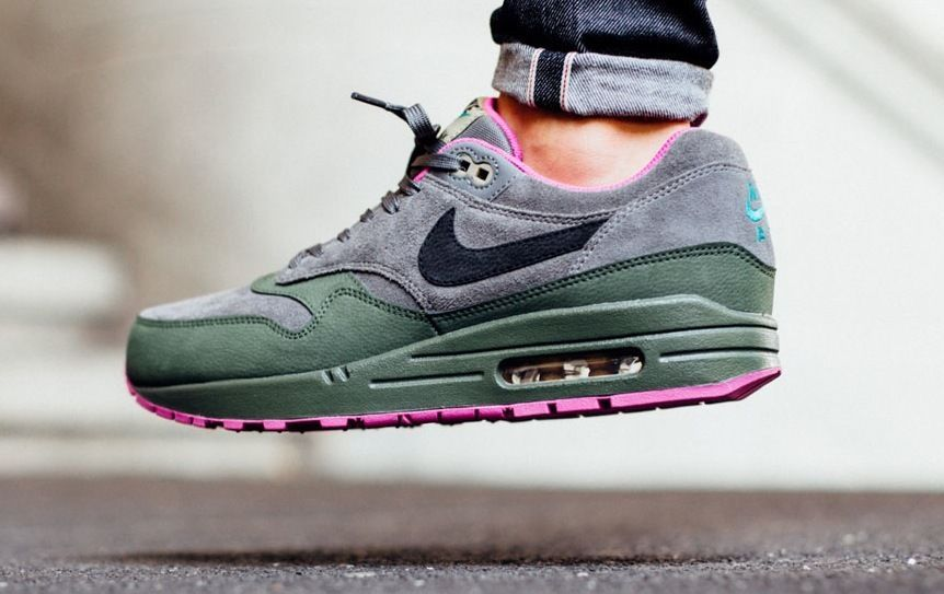 NIKE AIR MAX 1 LEATHER DARK PEWTER CARBON GREEN FUCHSIA 654466 008 $175