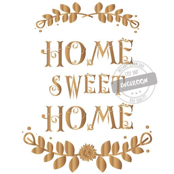 Home Sweet ClipArt PNG Transparent Golden Set By DigiRoom
