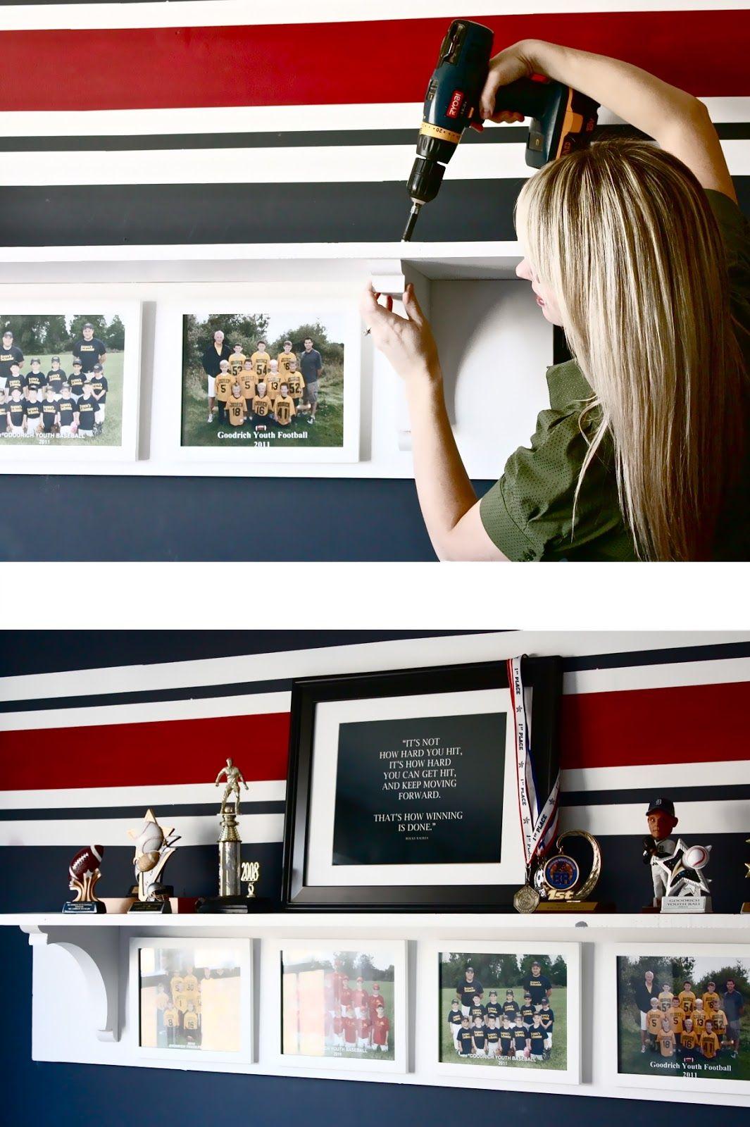 DIY Trophy and Team Photo Display Shelf Boy room, Girl