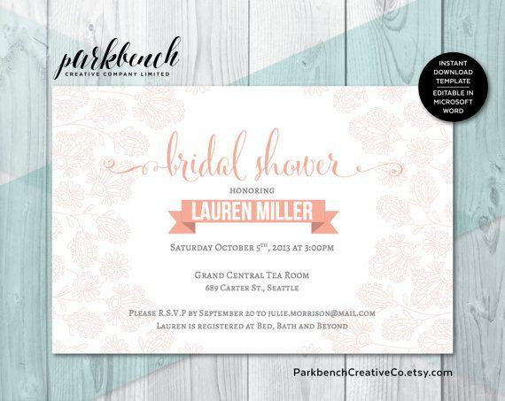 Bridal Shower Invitation, Editable, Printable Invitation Template - microsoft templates invitations