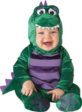 Infant Dinosaur Costume - part of our plan to tape a new Godzilla movie starring Sass.