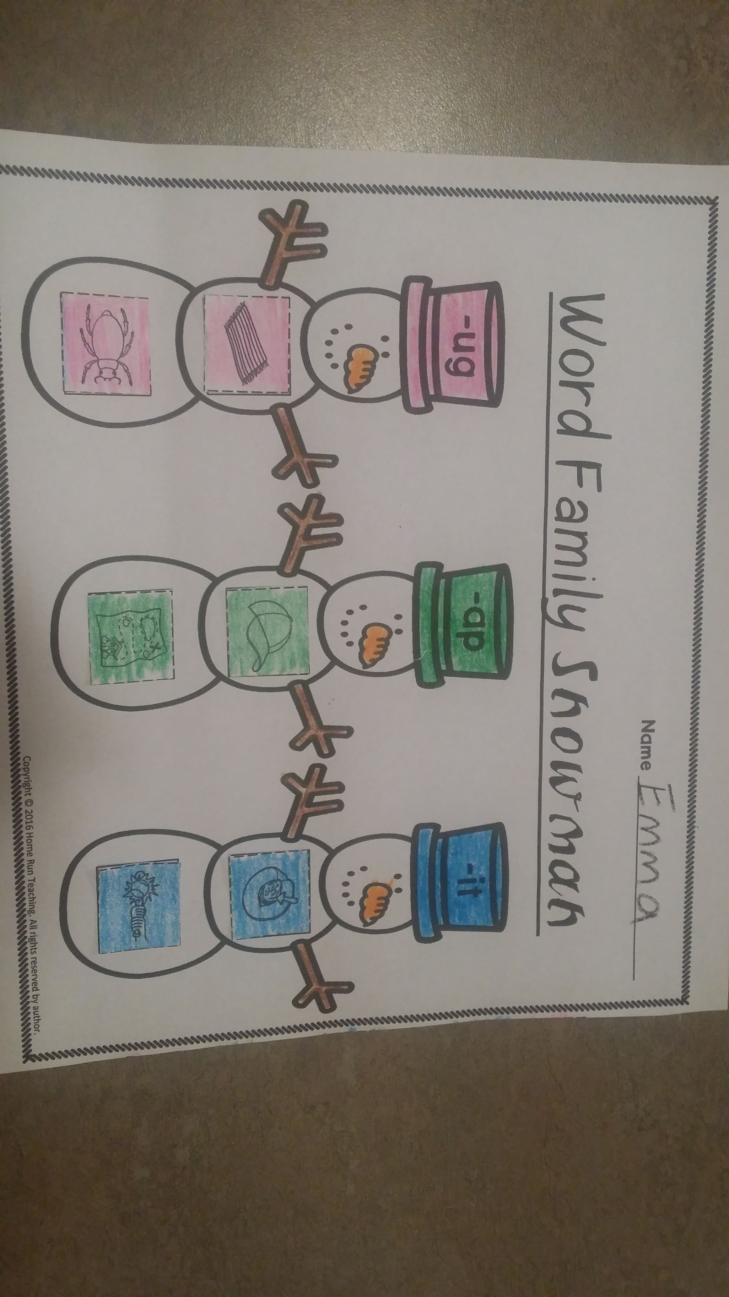 Free Snowman Word Families This Freebie Comes With 4