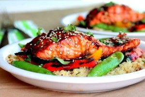 Sesame Ginger Sweet Teriyaki Salmon with Garlic Quinoa Stir-fry