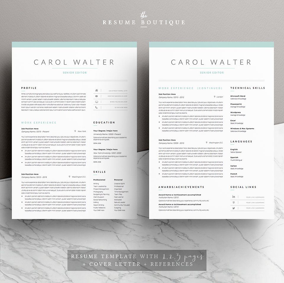 Page Resume Template  Upgrade By TheResumeBoutique On