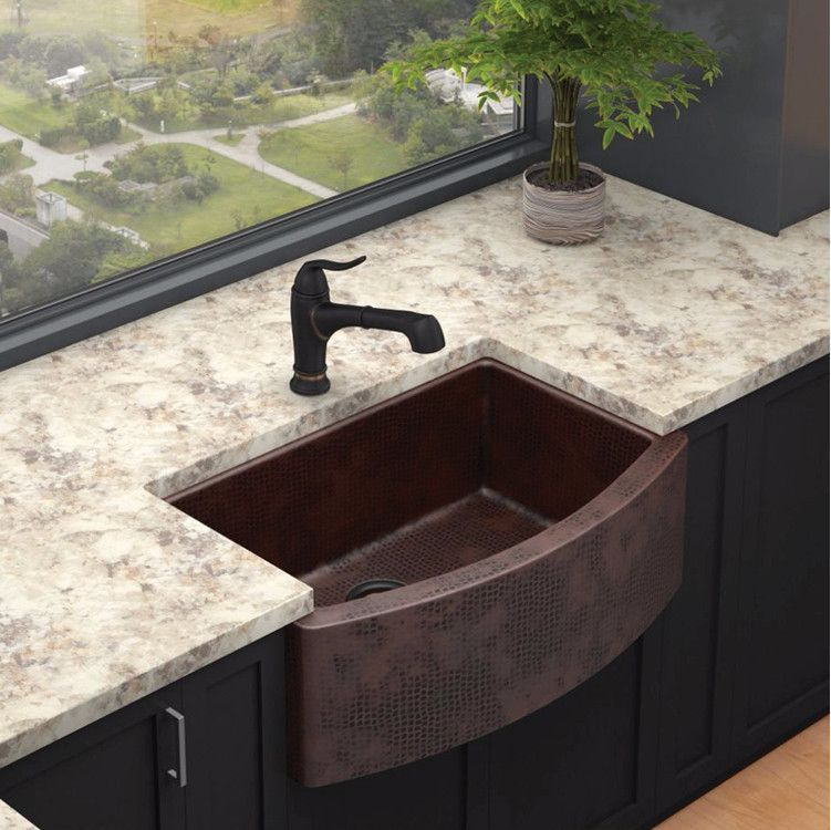 Elkay 33 Hammered Copper Single Bowl Farmhouse Kitchen Sink