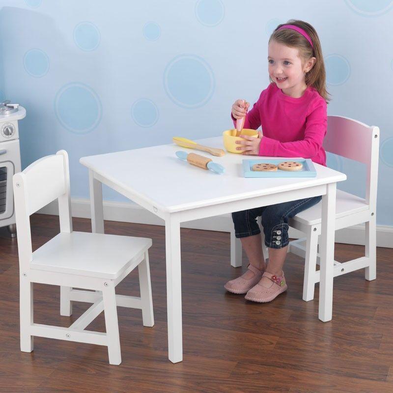 Conjunto de mesa y dos sillas para ni os y ni as en madera - Sillas para habitaciones ...