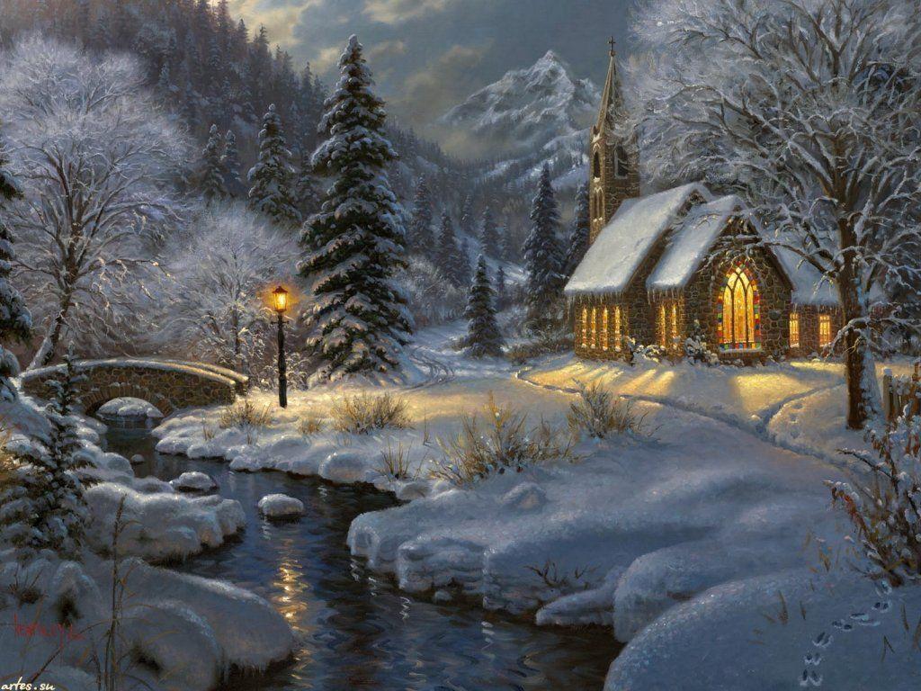 Картинки зимний пейзаж новогодние картинки