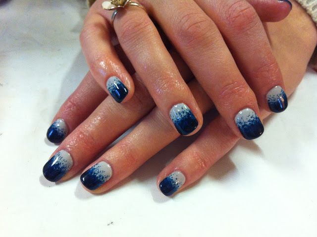 Cnd Shellac Nail Art Cityscape With Midnight Swim Stippled With