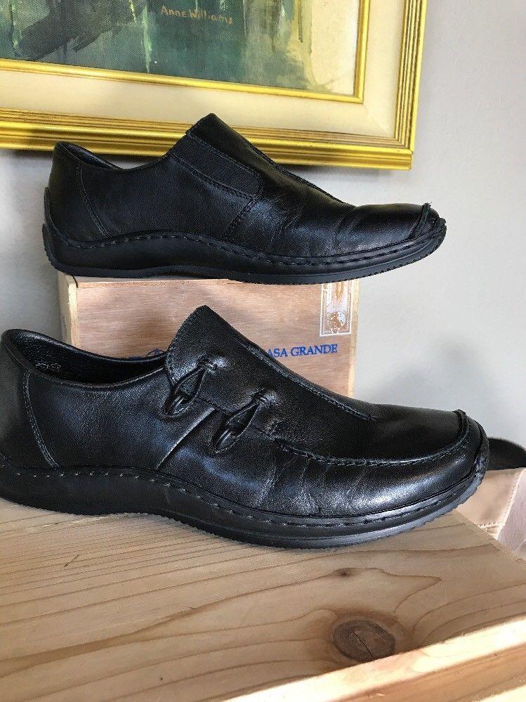 RIEKER Antistress Black Leather Slip On Loafers EUR 38