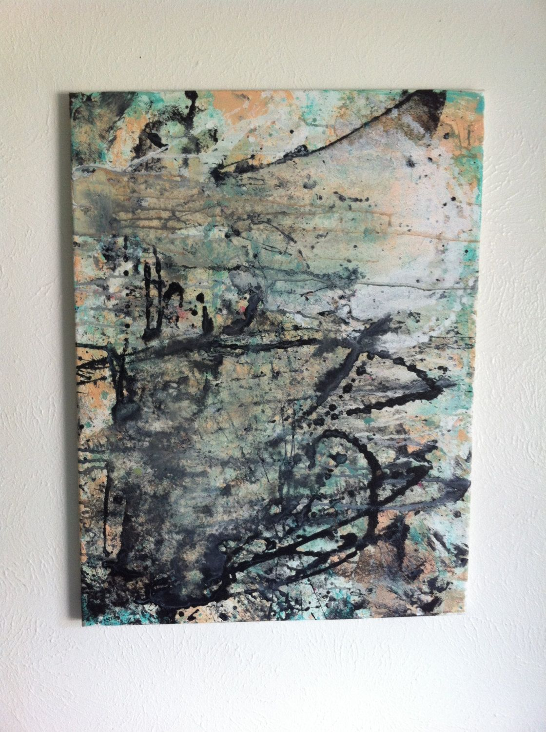 Large original abstract art painting acrylic teal pastel peach