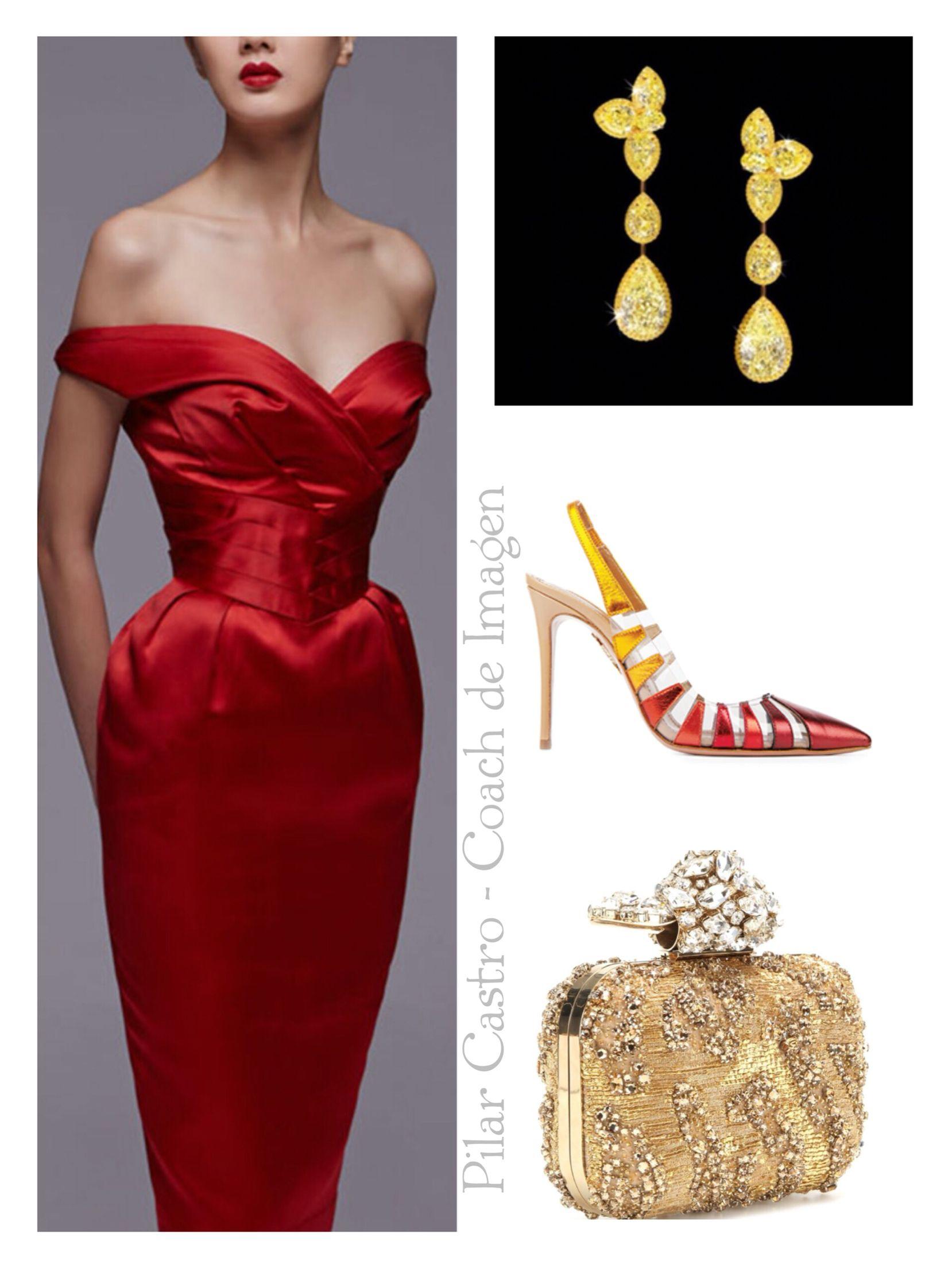 Outfit vestido rojo de noche