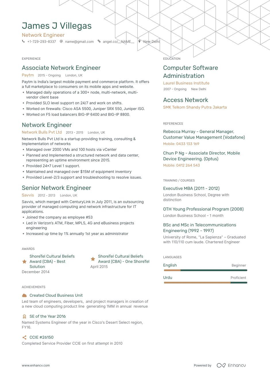 Network Engineer Resume Samples with 8+ professional