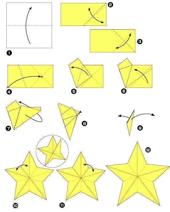 Fünf-Sterne-Stern-Origami-Diagramm - DIY Papier Blog #bricolagefacile