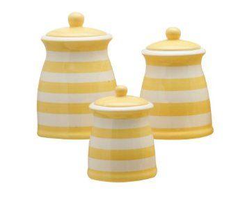 Terramoto Ceramic 3 Piece Stripes Canister Set Yellow