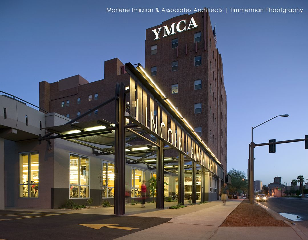 The Lincoln Family Downtown YMCA consists of a major renovation, exterior addition and upgrade to the existing YMCA including renovation of the residential tower. A new major entry canopy along 1st Ave provides the YMCA with a more welcoming and dynamic presence in downtown Phoenix. Designed by Marlene Imirzian & Associates Architects. http://sourcesfordesign.com/issue1#13