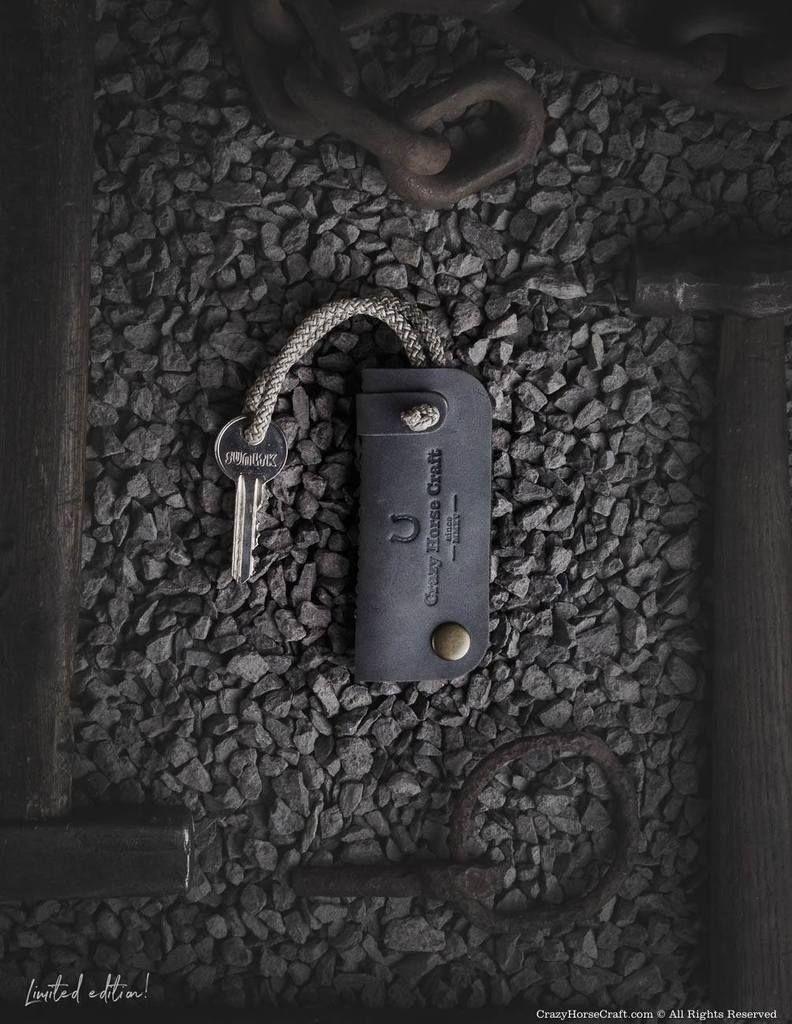 Leather Key Organiser Holder Stone Grey レザー