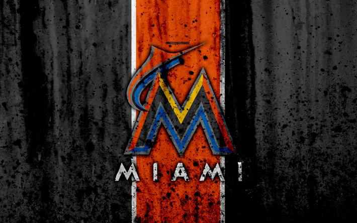 Download Wallpapers 4k Miami Marlins Grunge Baseball Club Mlb America Usa Major League Baseball Stone Texture Baseball Besthqwallpapers Com Miami Marlins Sports Wallpapers Marlins