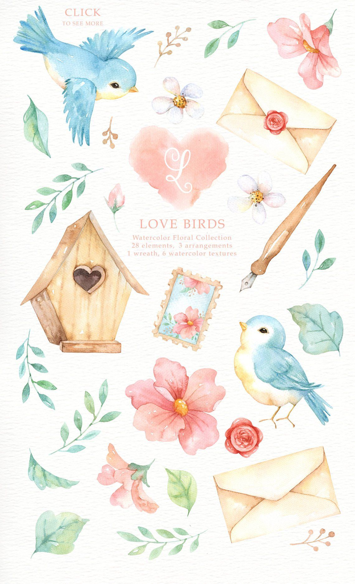 Love Birds Watercolor Clipart Romantic Wedding Watercolor Pastel