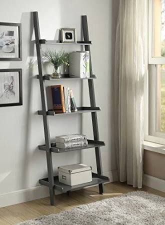 Grey Finish 5 Tier Bookcase Shelf Ladder Leaning