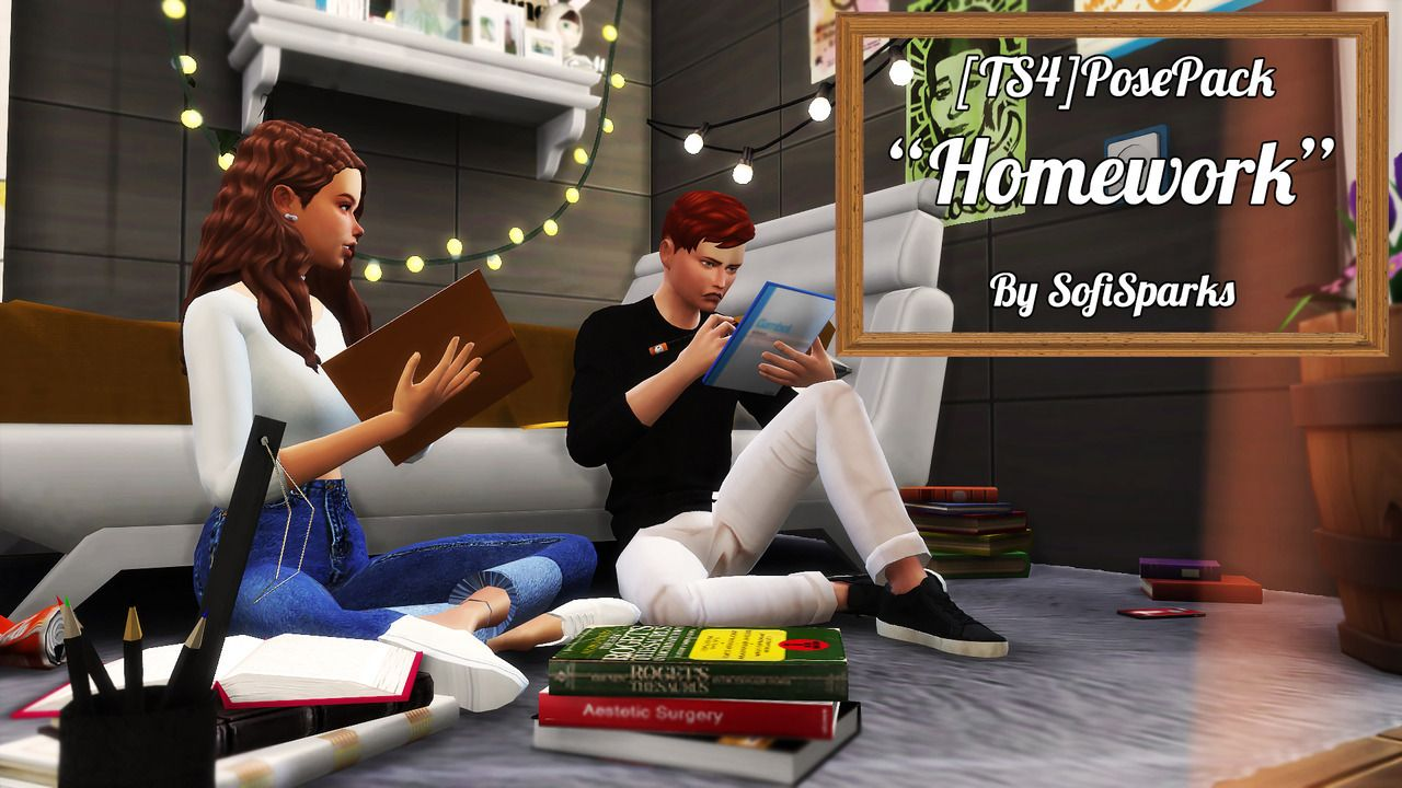 Ts4 Homework Posepack By Sofi Sparks Including 5 Couple Poses You Will Need Andrew S Pose Player Teleporter Any Sim Pe Sims 4 Sims Pozy Dlya Detej