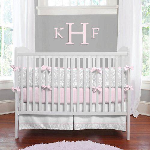 Pink And Gray Damask Baby Crib Bedding