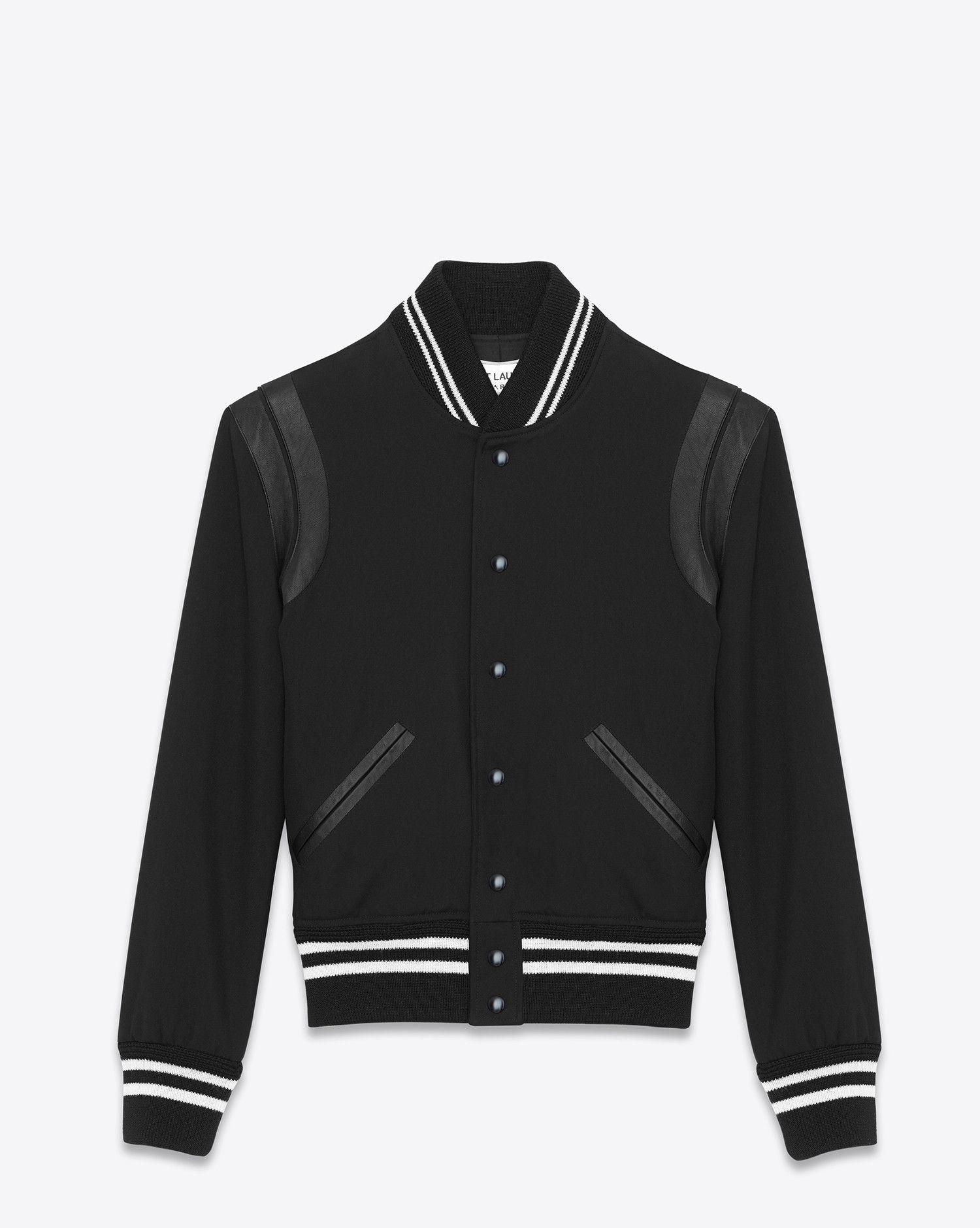 Saint Laurent Teddy Jacket In Black Gabardine And Black Leather Ysl Com Teddy Jacket Mens Outdoor Jackets Varsity Bomber Jacket [ 1880 x 1500 Pixel ]