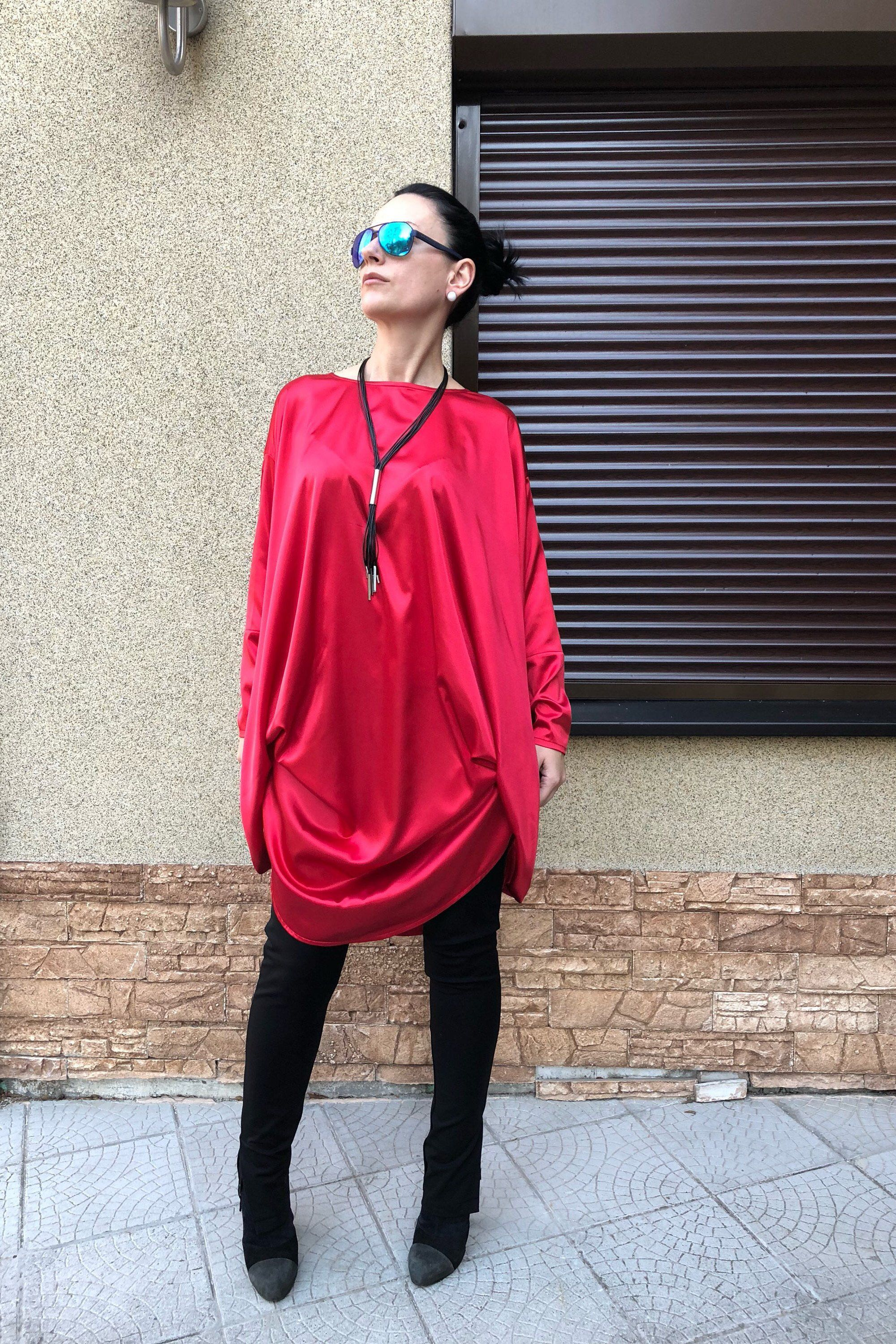 254a9fd5b4d Excited to share the latest addition to my #etsy shop: Luxury Red Satin  Tunic Top/ Plus Size Maxi Top/ Womens Clothing/ Black Tunic/ Loose  Oversized Blouse/ ...