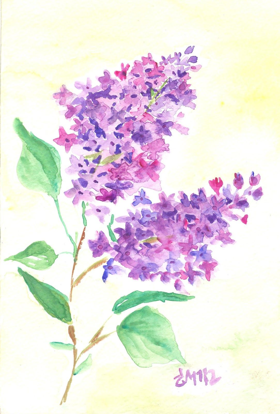 Art Stepping Stones Watercolor Lilac Attempt Lilac Painting Flower Painting Flower Art