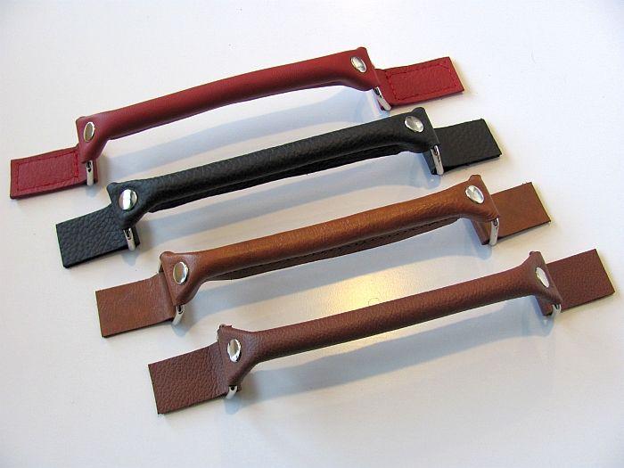 Leren tashengsel gebruiken als greep voor een kast diy leer