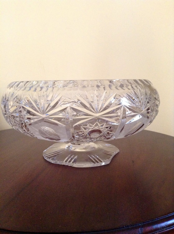 Brilliant Cut Glass Bowl Pedestal fruit Centerpiece