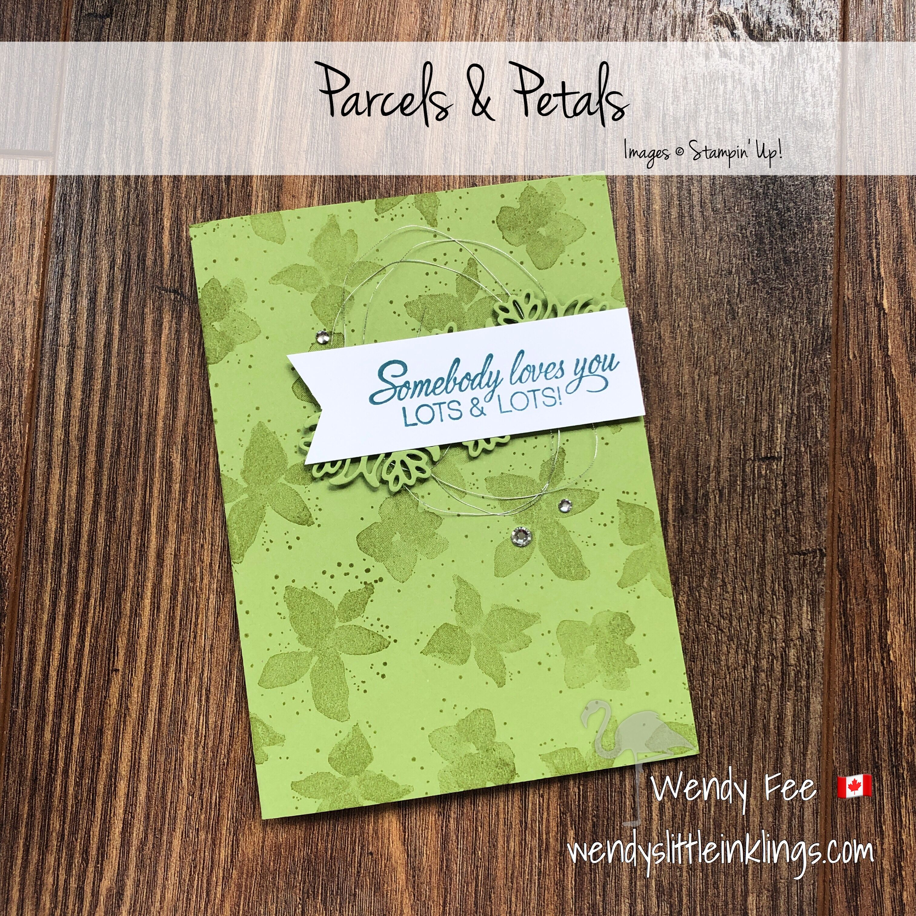 Parcels petals card copied from the catalogue wendys