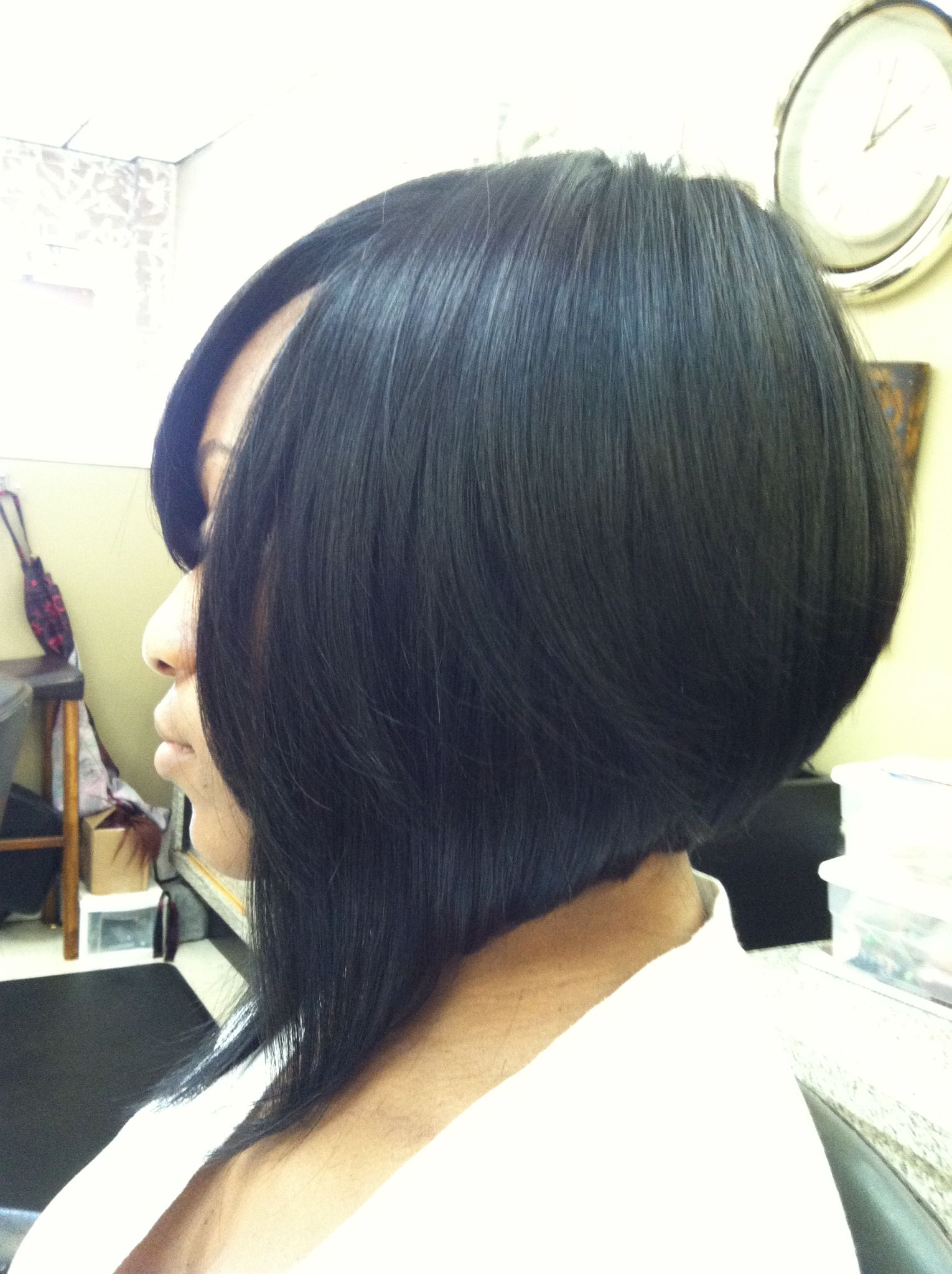 Side view full weave install bob cut myechia love hair today
