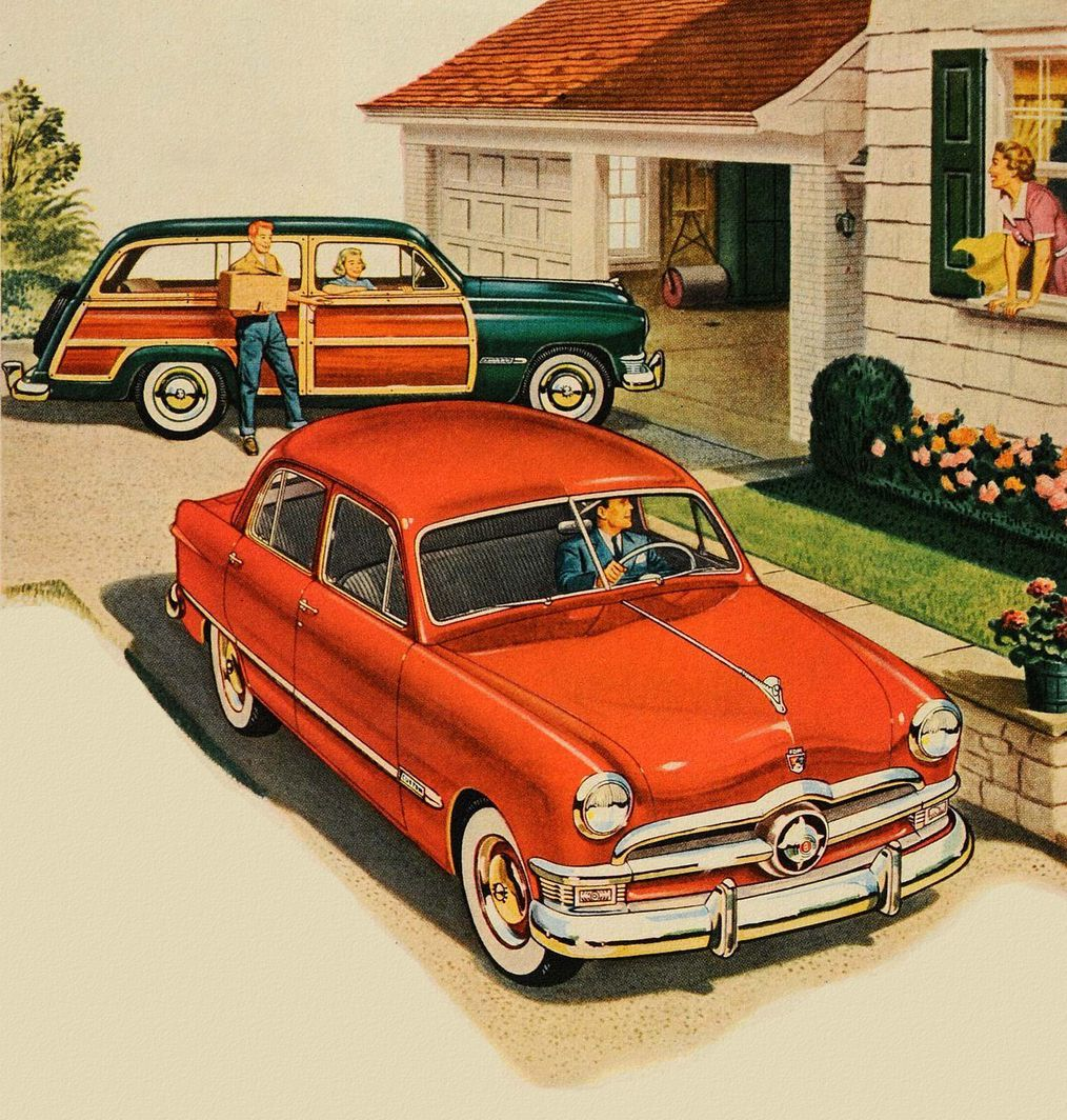The American Dream Two Cars In Every Drive 50s Ford Ad Vintage Cars Vintage Cars 1950s Vintage Ads