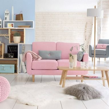 Canape rose 2 places jimi copyright la redoute pink sofas canap s rose - Lit la redoute 2 places ...